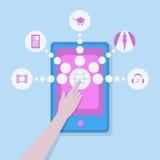Les multimédia marquent sur tablette pour des femmes images libres de droits