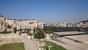 Les murs de la ville éternelle de Jérusalem, en dehors de vue, temps clair, ciel bleu photo stock
