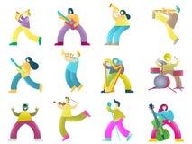 Les musiciens colorent des personnages de dessin animé, illustration d'isolement par vecteur illustration libre de droits