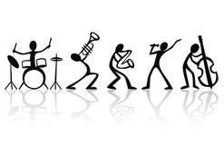 Les musiciens de bande groupent l'art tiré par la main de T-shirt illustration de vecteur