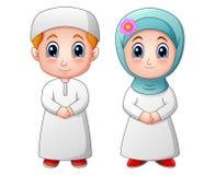 Les musulmans heureux badinent la bande dessinée d'isolement sur le fond blanc illustration stock