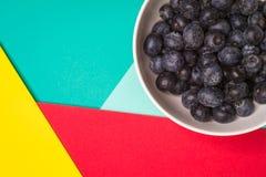 Les myrtilles portent des fruits dans la cuvette, la terre arrière colorée Image stock