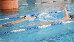 Les nageurs nagent le style libre, le rampement avant ou la course de rampement en avant dans une piscine pour la concurrence ou  banque de vidéos