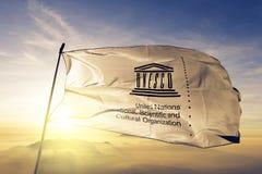 Les Nations Unies éducatives, tissu culturel scientifique de tissu de textile de drapeau de l'UNESCO d'organisation ondulant sur  illustration stock