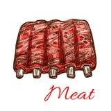 Les nervures fraîches de porc ou de mouton dirigent l'icône de croquis de viande illustration libre de droits
