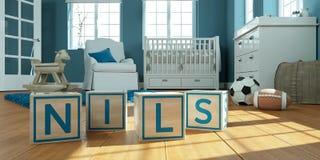 Les nils de nom écrits avec les cubes en bois en jouet chez la pièce du ` s des enfants Photo libre de droits