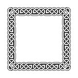 Les noeuds celtiques carrés dirigent le cadre médiéval en noir et blanc Images libres de droits