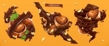 Les noisettes et le chocolat éclabousse vecteur 3d illustration libre de droits