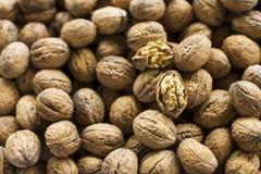 Les noix de Brown se ferment, noix criquée image libre de droits