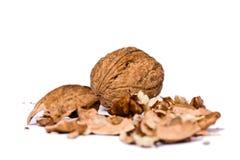 Les noix se ferment vers le haut de d'isolement Photos stock