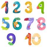 Les nombres aiment des oiseaux dans le style féerique illustration libre de droits