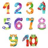 Les nombres aiment des robots dans le style féerique illustration stock