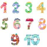 Les nombres aiment les maisons féeriques Images libres de droits