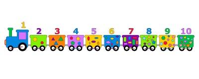 Les nombres colorés forment le jouet géométrique de formes d'isolement sur le fond blanc illustration stock