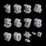 Les nombres 3d argentés ont isolé la police sur le noir Photographie stock