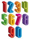 les nombres 3d géométriques ont placé dans des couleurs bleues et vertes Images libres de droits