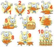 Les nombres dans les photos ont placé, lapin et ses carottes illustration libre de droits