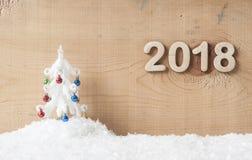 Les nombres en bois formant 2018, nouvelle année célèbrent Photo libre de droits