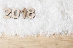 Les nombres en bois formant 2018, nouvelle année célèbrent Image stock