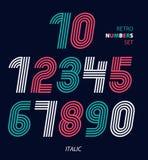 Les nombres géniaux de rétros rayures ont placé, rétro desig élégant à la mode de style Photographie stock
