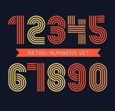 Les nombres géniaux de rétros rayures ont placé, rétro desig élégant à la mode de style Image stock