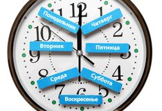 Les noms des jours de la semaine dans le mensonge russe sur le fond du visage d'horloge Photo stock