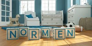Les normen de nom écrits avec les cubes en bois en jouet chez la pièce du ` s des enfants Photo stock