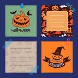 Les notes de Halloween de vecteur ont placé le calibre illustration stock