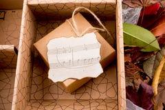 Les notes musicales sur un papier brûlé ont mis dans une boîte par la corde Image stock