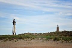 Les nouveaux et vieux phares du cap Henry images stock