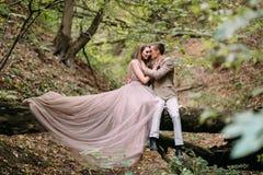 Les nouveaux mariés étreignent tendrement dans la jeune mariée de forêt dans la belle longue robe se reposent sur le mariage d'au images libres de droits