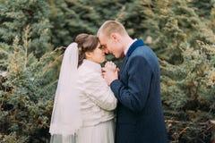 Les nouveaux mariés heureux ont le moment doux tenant des mains ensemble tout en marchant dans le parc vert Photographie stock libre de droits