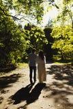 Les nouveaux mariés marchent autour du parc le soir Photos stock