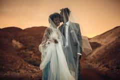 Les nouveaux mariés se tiennent sous le voile nuptiale, sourient et embrassent en canyon au coucher du soleil Images stock