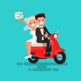 Les nouveaux mariés vont sur un vélomoteur rouge Illustration de vecteur illustration de vecteur