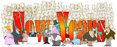 Les nouvelles années de mots avec les personnes potables et faisantes la fête assorties illustration stock