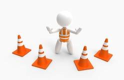 Les nouvelles personnes 3D - trafiquez les cônes et le gilet de sécurité Photo libre de droits