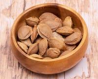 """Les noyaux d'abricot sec la graine d'un abricot, ont souvent appelé une """"pierre """"dans la cuvette en bois sur le bois Amygdaline V images libres de droits"""