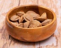 Les noyaux d'abricot sec la graine d'un abricot, ont souvent appel? une ?pierre ?dans la cuvette en bois sur le bois Amygdaline V image stock
