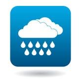 Les nuages avec la pluie laisse tomber l'icône, style simple Image stock