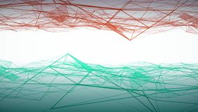 Les nuages bleus et rouges abstraits ont lié des triangles ondulant sur le fond blanc animation Fond géométrique avec le déplacem illustration libre de droits