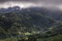 Les nuages d'arbres de montagnes refroidissent le temps Images stock