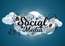les nuages 3D avec le media social noir gribouille et évase sur le fond bleu illustration stock