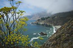 Les nuages descendent sur la côte de la route 1 photo libre de droits