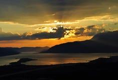 Les nuages et le coucher du soleil Photographie stock libre de droits