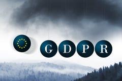 Les nuages foncés de l'approche de GDPR Photos stock