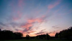 Les nuages volent au-dessus de la forêt sur le coucher du soleil 4k clips vidéos