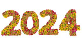 Les numéros 2024 ont fait à partir des fleurs de Zinnias Image stock
