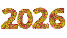 Les numéros 2026 ont fait à partir des fleurs de Zinnias Photos libres de droits