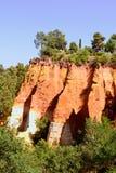 Les Ocres du Roussillon, röd rock. Provence Royaltyfri Foto